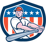 American Baseball Player Batting Shield Cartoon