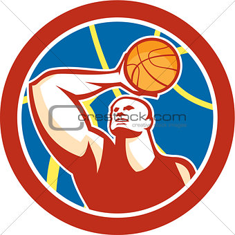 Basketball Player Shooting Ball Circle Retro