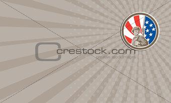 Business card American Soldier Serviceman Bayonet Circle Retro