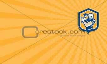 Business card American Football QB Throwing Shield Retro