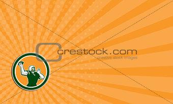 Business card American Football QB Throwing Circle Retro
