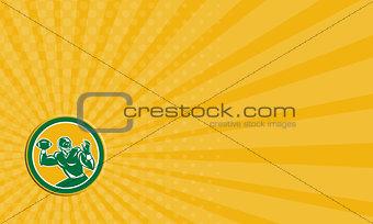 Business card American Football Quarterback Circle Retro