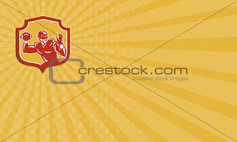 Business card American Football Quarterback Shield Retro