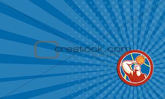 Business card Basketball Player Shooting Ball Circle Retro