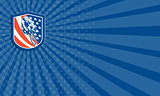 Business card Bicycle Rider USA Flag Shield Retro