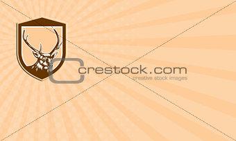 Business card Deer Stag Buck Head Woodcut Shield