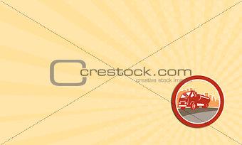 Business card Sewage Drainage Truck Hydro Unit Oval Retro