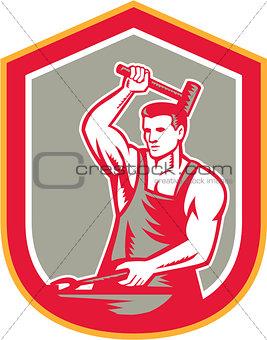 Blacksmith Hammering Pliers Shield Retro