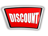 discount in 3d red banner with white letters