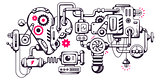 Vector industrial illustration background of operating mechanism