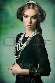 aristocratic retro woman with jewellery