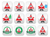 Santa Claus icons, Merry Christmas buttons