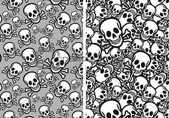 Skulls seamless patterns, vector