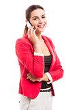 Business woman talking at phone
