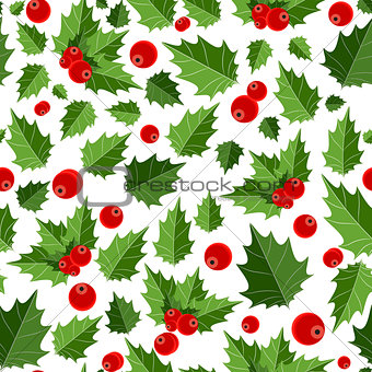 Abstract Beauty Christmas Berry Seamless Pattern Background. Vec