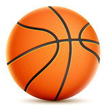 Isolated On White Orange Basketball. Vector Illustration.