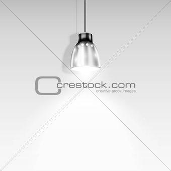 Single Spotlight Illuminating White Wall.. Vector Illustration.