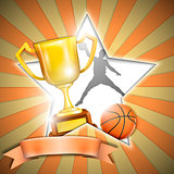 Basketball Poster With Trophy Cup. Vector Illustration.