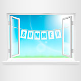 Summer Banner Hanging Out Of Window. Vector Illustration.