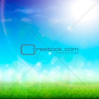Green Meadow On a Sunny Day. Vector Illustration.