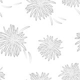 Asters neutral seamless pattern on neutral background