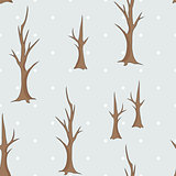 Bare winter trees seamless pattern