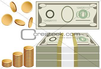 Cash, coins, bills