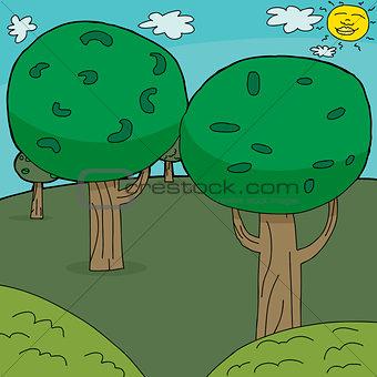 Cartoon Trees Background