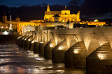 Mosque (Mezquita) and  Roman Bridge at beautiful night, Spain,