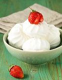 sweet white marshmallow meringue with fresh strawberries