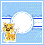 vector illustration of cute young lion on decorative background - birthday invitation