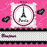 vintage paris card. vector illustration art cute