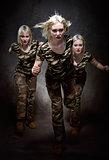Running military woman
