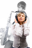 Lovely girl in headphones listening music