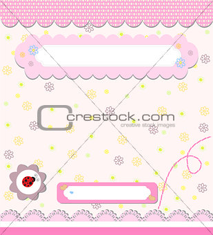 Baby card with ladybird art vector illustration