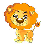 Cute lion cartoon art illustration  art vect