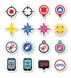 GPS navigation, wind rose, compass icons set
