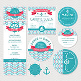 Set of marine wedding cards