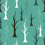Bare autumn trees seamless pattern
