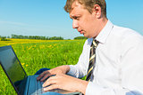 businessman working on nature of the Internet
