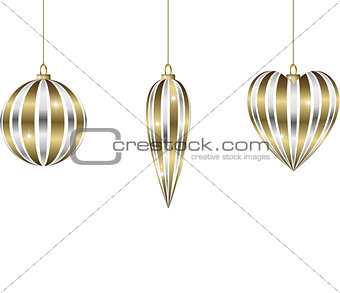 christmas bauble with silver and gold ribbon