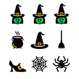 Witch Halloween vector icons set