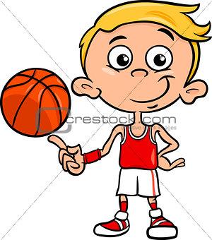 boy basketball player cartoon illustration
