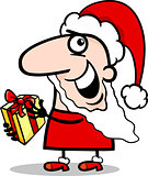 santa with present cartoon illustration