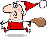 running santa claus cartoon illustration