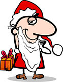 santa with gift cartoon illustration