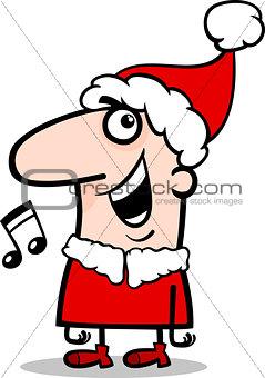 santa singing carol cartoon illustration