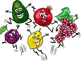 jumping fruits cartoon illustration