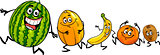happy running fruits cartoon illustration