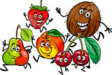 running fruits group cartoon illustration